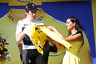Geraint Thomas (GBR - Team Sky), yellow shirt, podium during the 105th Tour de France 2018, Stage 14, Saint-Paul-trois-Chateaux - Mende (188 km) on July 21th, 2018 - Photo Luca Bettini / BettiniPhoto / ProSportsImages / DPPI