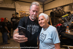 Still riding as a nonagenarian (90 year old,) Gloria Struck with the Horse's Englishman (David Gregory) at Bill Dodge's 3rd annual get-together at Blings Cycles during Daytona Bike Week 75th Anniversary event. FL, USA. Wednesday March 9, 2016.  Photography ©2016 Michael Lichter.