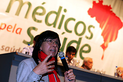 A vice-presidente do SIMERS - Sindicato Médico do Estado do Rio Grande do Sul, Maria Rita durante assembléia dos médicos gaúchos pela paralisação nacional no próximo dia 30  de julho, em Porto Alegre (RS). FOTO: Jefferson Bernardes/Preview.com