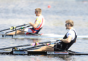 Poznan, POLAND,  NZL M1X Mahe DRYSDALE winning the  Men's Single Sculls Final  Silever [CZE M1X] at the 2008 FISA World Cup. Rowing Regatta. Malta Rowing Course on Sunday, 22/06/2008. [Mandatory Credit:  Peter SPURRIER / Intersport Images] Rowing Course:Malta Rowing Course, Poznan, POLAND