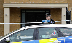© London News Pictures. 21/05/2016. Weybridge, UK. Police outside a property on the St George's Hill estate in Weybridge, Surrey where the body of a woman in her 30's was discovered by paramedics this morning (Sat). Photo credit: Peter Macdiarmid/LNP