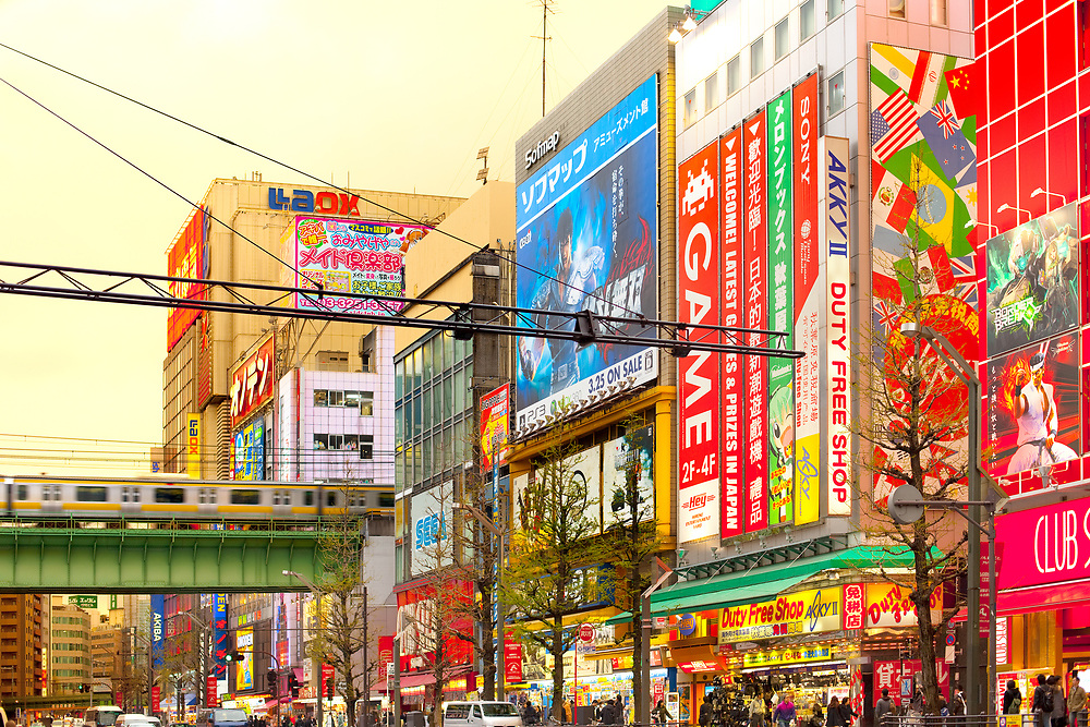 Akihabara Electric Town, Tokyo, Kanto Region, Honshu, Japan - Advertising billboards on video game stores at the bustling neighborhood of Akihabara Electric Town.