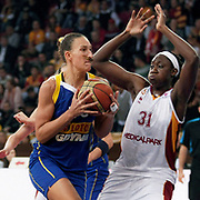 Galatasaray's Tina CHARLES (R) and Lotos Gdynia's Ines AJANOVIC (L) during their woman Euroleague group A matchday 5 Galatasaray between Lotos Gdynia at the Abdi Ipekci Arena in Istanbul at Turkey on Wednesday, November 09 2011. Photo by TURKPIX