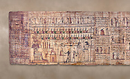 Ancient Egyptian Book of the Dead papyrus - Ptolemaic Period (722-30BC).Turin Egyptian Museum .<br /> <br /> If you prefer to buy from our ALAMY PHOTO LIBRARY  Collection visit : https://www.alamy.com/portfolio/paul-williams-funkystock/ancient-egyptian-art-artefacts.html  . Type -   Turin   - into the LOWER SEARCH WITHIN GALLERY box. Refine search by adding background colour, subject etc<br /> <br /> Visit our ANCIENT WORLD PHOTO COLLECTIONS for more photos to download or buy as wall art prints https://funkystock.photoshelter.com/gallery-collection/Ancient-World-Art-Antiquities-Historic-Sites-Pictures-Images-of/C00006u26yqSkDOM