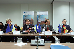 March 28, 2019 - Kyiv, Ukraine - World Bank Country Director for Belarus, Moldova, and Ukraine Satu Kahkonen, Vice Prime Minister - Minister of Regional Development, Construction, Housing and Communal Services of Ukraine Hennadii Zubko, Regional Manager of the International Finance Corporation (IFC) for Ukraine, Belarus and Moldova Jason Pellmar and chairman of the Board of the UKRGASBANK JSB Kyrylo Shevchenko (L to R) attend the signing of a trilateral agreement between the IFC, the Energy Efficiency Fund and the UKRGASBANK JSB set to launch funding for Fund's projects, Kyiv, capital of Ukraine, March 28, 2019. Ukrinform. (Credit Image: © Danil Shamkin/Ukrinform via ZUMA Wire)