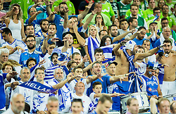 Supporters of Greece during basketball match between Slovenia vs Greece at Day 5 in Group C of FIBA Europe Eurobasket 2015, on September 9, 2015, in Arena Zagreb, Croatia. Photo by Vid Ponikvar / Sportida