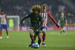 November 28, 2018 - Madrid, Madrid, Spain - Antoine Griezmann of Atletico de Madrid fight the ball with Massengo of Monaco during a match between Atletico de Madrid vs Monaco for UEFA Champions League  2018-2019 at Wanda Metropolitano Stadium on November 28, 2018 in Madrid, Spain. (Credit Image: © Patricio Realpe/NurPhoto via ZUMA Press)
