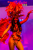 Samba dancers, Latin American cultural stage show at Rafain Churrascaria restaurant in Foz do Iguacu, Brazil.                          The show features dance and costumes from Argentina, Bolivia, Brazil, Chile, Colombia, Mexico, Paraguay, and Uruguay.