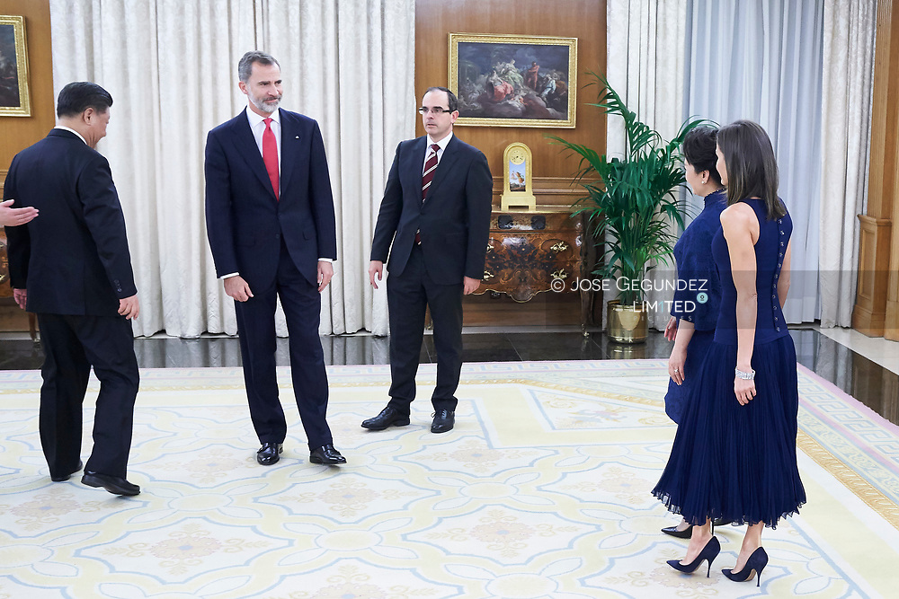 King Felipe VI of Spain, Queen Letizia of Spain, Xi Jinping, Peng Liyuan host a Dinne with Xi Jinping, President of People's Republic of China and wife Peng Liyuan at Zarzuela Palace on November 27, 2018 in Madrid, Spain