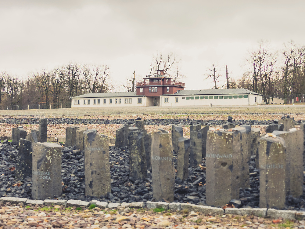"Black basalt steles and gate building with watchtower at concentration camp, KZ Buchenwald"", Ettersberg, Weimar, Thueringen, Germany"