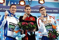 25.11.2010, Pieter van den Hoogenband Zwemstadion, Eindhoven, NED, Kurzbahn Schwimm EM, im Bild ..200m Backstroke podium.Damiano LESTINGI Silver, Yannick LEBHERZ Gold, Artem DUBOVSKOY Russia // Eindhoven 25/11/2010 .European Short Course Swimming Championships, EXPA/ InsideFoto/ Staccioli+++++ ATTENTION - FOR AUSTRIA/AUT, SLOVENIA/SLO, SERBIA/SRB an CROATIA/CRO CLIENT ONLY +++++ / SPORTIDA