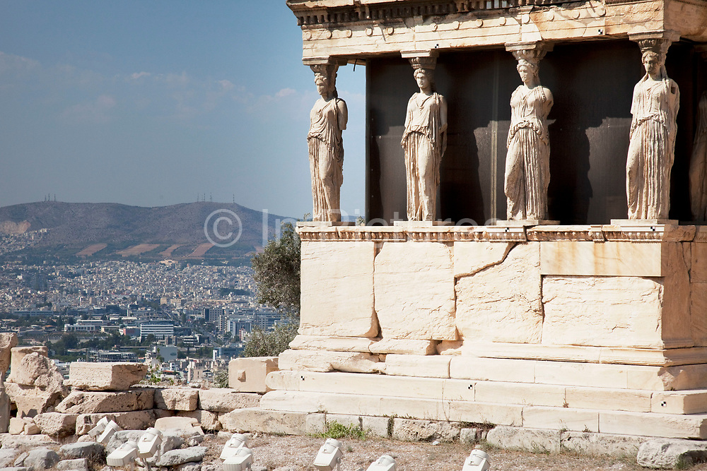 The Erecthion sits on the most sacred site of the Acropolis where Poseidon and Athena had their contest over who would be the Patron of the city. Athens is the capital and largest city of Greece. It dominates the Attica periphery and is one of the world's oldest cities, as its recorded history spans around 3,400 years. Classical Athens was a powerful city-state. A centre for the arts, learning and philosophy.