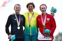 (left to right) New Zealand's Linda Villumsen with her silver medal, Australia's Katrin Garfoot with her gold medal and England's Hayley Simmonds with her bronze medal won in the Women's Individual Time Trial during the Women's Individual Time Trial at Currumbin Beachfront during day six of the 2018 Commonwealth Games in the Gold Coast, Australia.