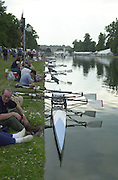 Hampton Court Palace, Hampton Middx, The Long Lake, <br /> Photo Peter Spurrier.<br /> Card No. <br /> <br /> Racing boats moor, before start of the event. [Mandatory Credit;Peter SPURRIER;Intersport Images] 20010702 Supersprints, Hampton Court Palace, Surrey UK