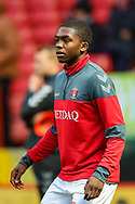 Charlton Athletic defender Anfernee Dijksteel (2) warms up prior to the The FA Cup 2nd round match between Charlton Athletic and Doncaster Rovers at The Valley, London, England on 1 December 2018. Photo by Toyin Oshodi