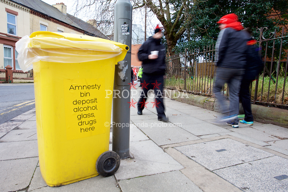 LIVERPOOL, ENGLAND - Saturday, January 31, 2015: An amnesty bin for supporters to leave drugs before entering the stadium before the Premier League match between Liverpool and West Ham United at Anfield. (Pic by David Rawcliffe/Propaganda)