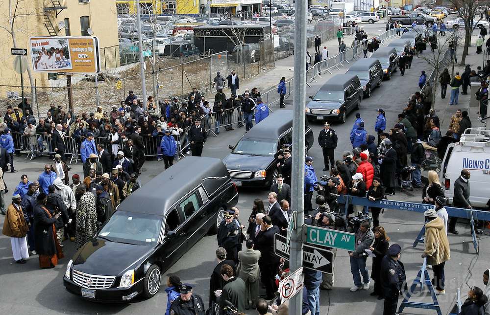 Hearses carrying the coffins of ten people killed in a recent house fire arrive to the Islamic Cultural Center in the Bronx, New York on Monday 12 March 2007. Of the ten people killed in the fire, 9 were children, and all were immigrants from Mali.