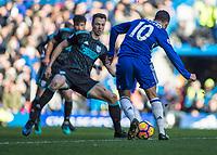 Football - 2016 / 2017 Premier League - Chelsea vs. WBA<br /> <br /> Eden Hazard of Chelsea prepares to take on Jonny Evans of West Bromwich Albion at Stamford Bridge.<br /> <br /> COLORSPORT/DANIEL BEARHAM