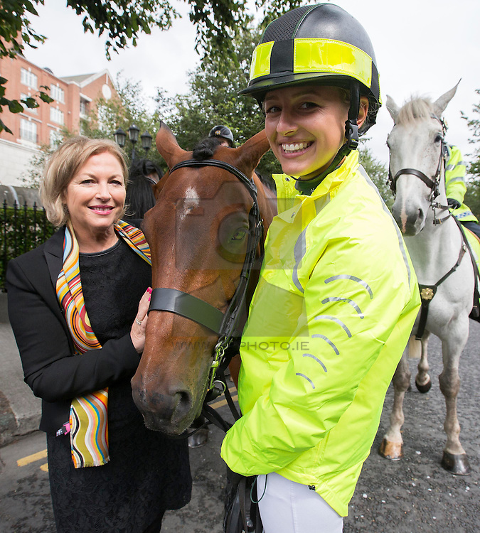 REPRO FREE: 05/08/2015 Liz O'Donnell, Chairperson, RSA is pictured with Melanie Young of Team Ireland Equestrian u25 eventing squad and Dante at the launch of the a new booklet from the Road Safety Authority in association with Horse Sport Ireland, 'Horse Road Safety on Public Roads', advising road-users and riders on sharing the road safely. Picture Andres Poveda