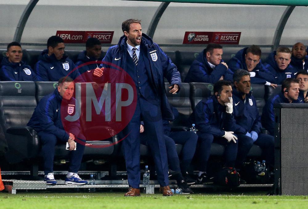 Interim England Manager Gareth Southgate looks frustrated during the 0-0 draw with Slovenia - Mandatory by-line: Robbie Stephenson/JMP - 11/10/2016 - FOOTBALL - RSC Stozice - Ljubljana, England - Slovenia v England - World Cup European Qualifier