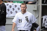 CHICAGO - APRIL 21:  Todd Frazier #21 of the Chicago White Sox looks on against the Los Angeles Angels of Anaheim on April 21, 2016 at U.S. Cellular Field in Chicago, Illinois.  The Angels defeated the White Sox 3-2.  (Photo by Ron Vesely)   Subject: Todd Frazier