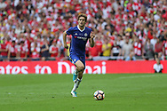Chelsea's Marcos Alonso(3) on the ball during the The FA Cup final match between Arsenal and Chelsea at Wembley Stadium, London, England on 27 May 2017. Photo by Shane Healey.