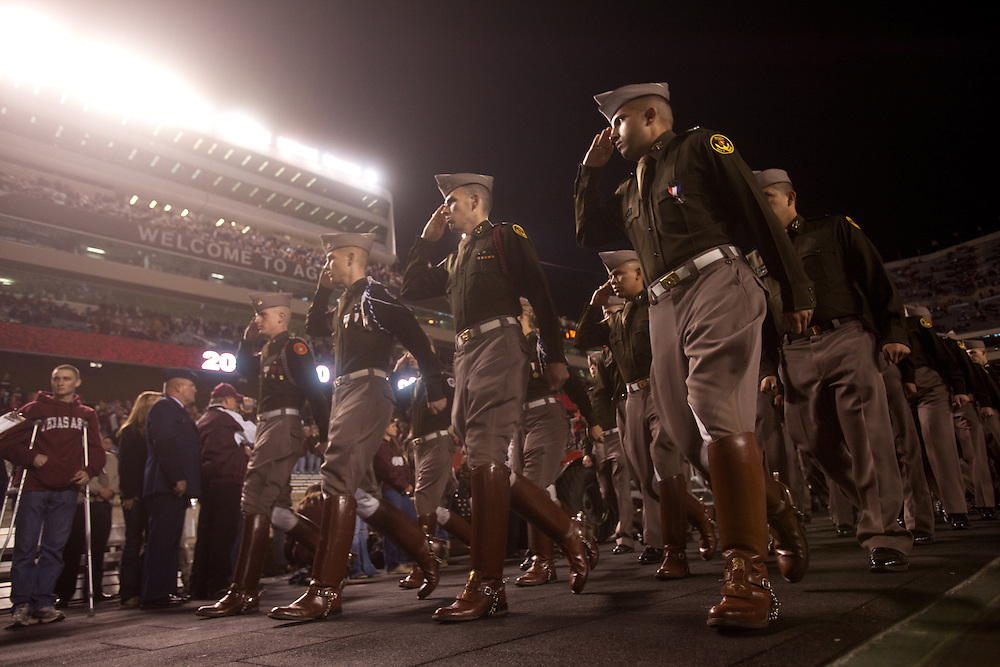 Texas A&M Corps of Cadets. Texas Longhorns at Texas A&M Aggies. Photographed at Kyle Field in College Station, Texas on Thursday, November 26 2009. Photograph © 2009 Darren Carroll