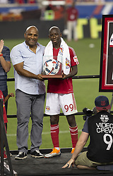 August 5, 2018 - Harrison, New Jersey, United States - Bradley Wright-Phillips receives ball used to score 100th goal during New York Red Bulls honored Bradley Wright-Phillips for scoring fastest 100 goals in MLS history after game against LAFC at Red Bull Arena Red Bulls won 2 - 1  (Credit Image: © Lev Radin/Pacific Press via ZUMA Wire)
