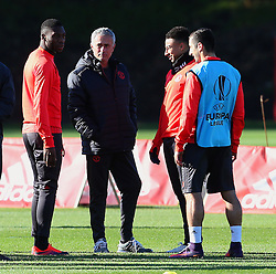 Manchester United manager Jose Mourinho talks with Timothy Fosu-Mensah, Jesse Lingard and Henrikh Mkhitaryan - Mandatory by-line: Matt McNulty/JMP - 19/10/2016 - FOOTBALL - Manchester United - Training session ahead of Europa League game against Fenerbahce