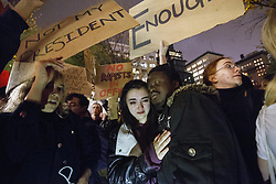 November 9, 2016 - New York, US, UK - New York, USA. An anti-Trump protester cries during a march from Union Square to Trump Tower in New York City, on Wednesday, 9 November 2016 following the presidential election won by Donald Trump. (Credit Image: © Tolga Akmen/London News Pictures via ZUMA Wire)