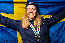 February 22, 2019 - Seefeld In Tirol, AUSTRIA - 190222 Silver medalist Stina Nilsson of Sweden poses for a picture with a Swedish flag after the medal ceremony for women´s cross-country skiing sprint during the FIS Nordic World Ski Championships on February 22, 2019 in Seefeld in Tirol..Photo: Joel Marklund / BILDBYRÃ…N / kod JM / 87883 (Credit Image: © Joel Marklund/Bildbyran via ZUMA Press)