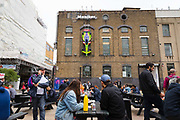 The first-ever Formula-E art car by renowned British street artist D*Face displayed on the side of the fairs building at the preview of Moniker Art Fair on October 04, 2018, taking place during Frieze Week at the Old Truman Brewery in London, England. The art fair embraces contemporary urban art from emerging and established artists and this year, the shows theme is Uncensored, shedding light on social, economic and ecological issues.