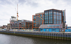 Wellcroft and Tradescroft buildings at new Barclays Glasgow Campus under construction at Buchanan Wharf Tradeston, Glasgow, Scotland ,UK
