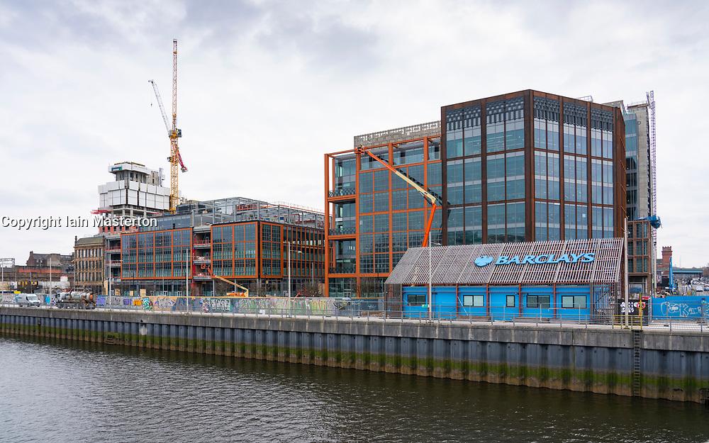 Wellcroft and Tradescroft buildings at new Barclays Glasgow Campus under construction at Buchanan Wharf Tradeston, Glasgow, Scotland ,UK
