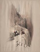 Ascent to the Summit of Sinai Color lithograph by David Roberts (1796-1864). An engraving reprint by Louis Haghe was published in a the book 'The Holy Land, Syria, Idumea, Arabia, Egypt and Nubia. in 1855 by D. Appleton & Co., 346 & 348 Broadway in New York.