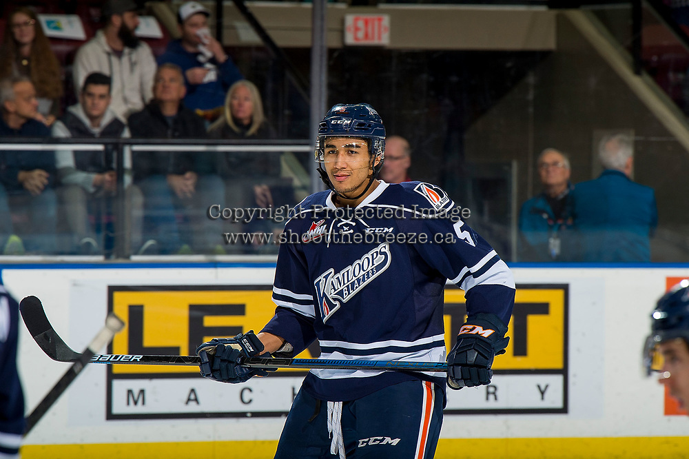 KELOWNA, BC - FEBRUARY 02: Montana Onyebuchi #5 of the Kamloops Blazers stands on the ice against the Kelowna Rockets  at Prospera Place on February 2, 2019 in Kelowna, Canada. (Photo by Marissa Baecker/Getty Images)
