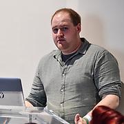 Speaker Nick Marshall at ukie students at London Games Festival 2019: HUB at Somerset House at Strand, London, UK. on 2nd April 2019.