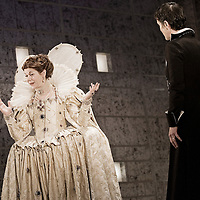 Mary Stuart  -  Picture Shows –  Siobhan Redmond as Queen Elizabeth and Catherine Cusack as Mary Stuart.<br /> Picture Drew Farrell / Lebrecht. Payment at All Times.<br /> <br /> CAST :    Catherine Cusack, Callum Cuthbertson, Ken Drury, Robin Laing, Phil McKee, Jamie Michie, Siobhan Redmond, Ralph Riach<br /> Roy Sampson, John Stahl, Eileen Walsh<br /> <br /> One of European theatre's major plays, Schiller's masterpiece hinges on a brilliantly imagined meeting between Mary Queen of Scots, focus of simmering Catholic dissent, and her cousin, Elizabeth, Queen of England, who has imprisoned her.<br /> <br /> Written by Friedrich Schiller A new version by David Harrower from a literal translation by Patricia Benneke Directed by Vicky Featherstone Designed by Neil Warmington Lighting designed by Natasha Chivers Music composed by John Harris.<br /> <br /> Opens at The Citizens Theatre, Glasgow 03/10/2006 - 21/10/2006 and the onto The Royal Lyceum Theatre, Edinburgh  27/10/2006 - 18/11/2006