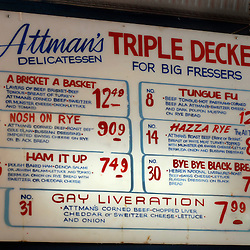 """The vintage menu bears the descriptions of sandwiches created in the 1960's at Attman's Deli, a local favorite on Baltimore's """"Corned-Beef Row"""" in the Little Italy neighborhood...Photo by Susana Raab"""
