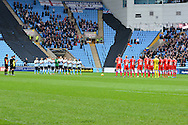 A minutes applause for Jimmy Hill during the Sky Bet League 1 match between Coventry City and Oldham Athletic at the Ricoh Arena, Coventry, England on 19 December 2015. Photo by Alan Franklin.