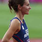 Denisa Rosolova, Czech Republic, in the Women's 400m Hurdles heats at the Olympic Stadium, Olympic Park, Stratford at the London 2012 Olympic games. London, UK. 5th August 2012. Photo Tim Clayton
