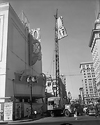 Y-540809-10.  Fox Theatre sign going up. August 9, 1954