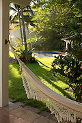 Private home in Parati Brazil. A hammock looking out to the garden.