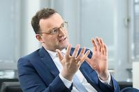 05 MAY 2021, BERLIN/GERMANY:<br /> Jens Spahn, CDU, Bundesgesundheitsminister, wahrend einem Interview, in seinem Buero, Bundesministerium fur Gesundheit<br /> IMAGE: 202105005-01-007