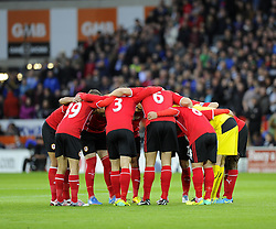 Cardiff City Huddle - Photo mandatory by-line: Joe Meredith/JMP - Tel: Mobile: 07966 386802 03/11/2013 - SPORT - FOOTBALL - The Cardiff City Stadium - Cardiff - Cardiff City v Swansea City - Barclays Premier League