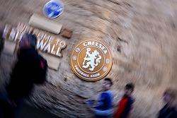 21 October 2017 - Premier League Football - Chelsea v Watford - An abstract view of the Chelsea crest on the Shed Wall - Photo: Charlotte Wilson / Offside