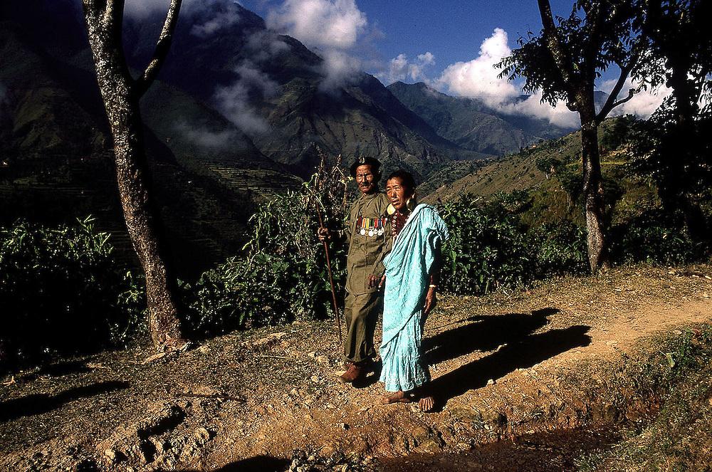 Gurkha ,Nepal. VC holder Karnabahadur Rhana and wife seen in their hilltop village near Gulmi,Nepal in 1969. Photographed by Terry Fincher