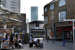 East End, Isle of Dogs, with Canary Wharf in the background, London UK.