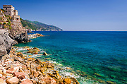 Torre Aurora Castle and coast at Monterosso al Mare, Cinque Terre, Liguria, Italy