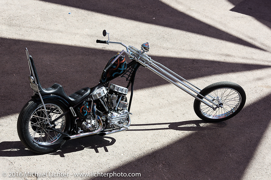 Maui, Hawaii custom bike builder Noah O'Geen's panhead chopper at the Buffalo Chip Crossroads during the Annual Sturgis Black Hills Motorcycle Rally.  SD, USA.  August 7, 2016.  Photography ©2016 Michael Lichter.